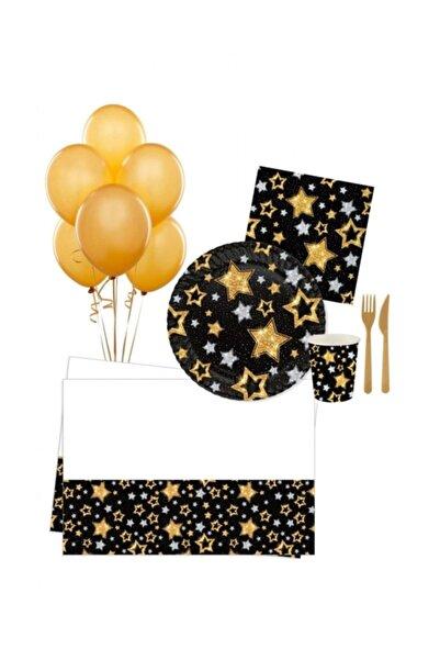 Roll-Up Yıldızlar Doğum Günü Kutlama Seti 16 Kişilik Siyah Altın Kb1250