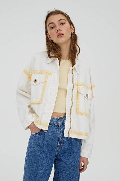 Pull & Bear Kadın Beyaz Pamuklu Batik Ceket