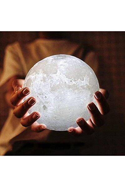 BayraktarMarketing 7 Renkli Ay Ve Küre Şeklinde Gece Lambası 15 Cm Pilli Led Işıklı Moonlight Masa Lambası Oda Lambası