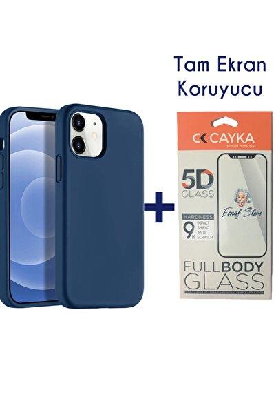 ESNAFSTORE Iphone 12 Kılıf Lansman Içi Süet Silikon Lacivert + Full Ekran Koruyucu 5d