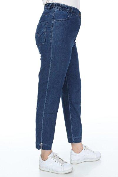 Mihra Stil Büyük Beden Beli Lastikli Yüksek Bel Boru Paça Mavi Kot Pantolon
