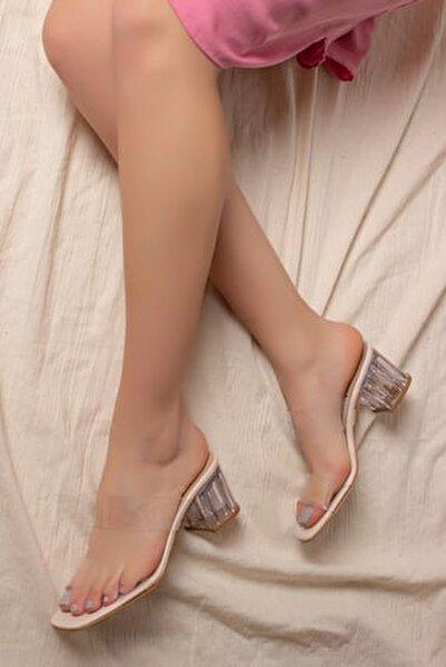 D0085 Kadın Vizon Şeffaf Bant&şeffaf Topuklu Ayakkabı