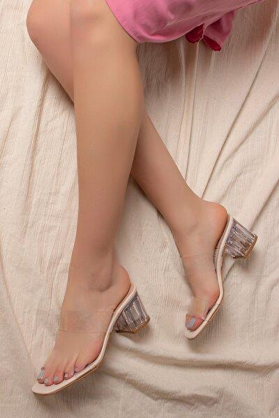 Daxtors D0085 Kadın Vizon Şeffaf Bant&şeffaf Topuklu Ayakkabı