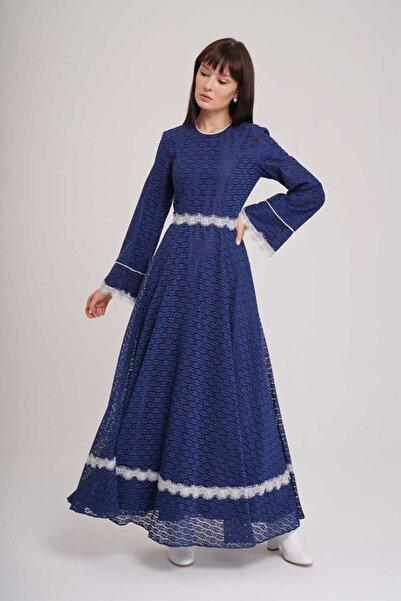 Mizalle Dantel Şerit Detaylı Abiye Elbise (Lacivert)