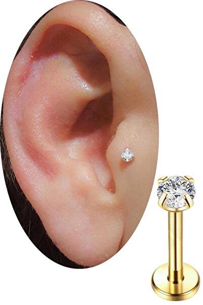 SHESTAKI Gold Renkli Taşlı Tragus Helix Cerrahi Çelik Kulak Kıkırdak Piercing 8 mm