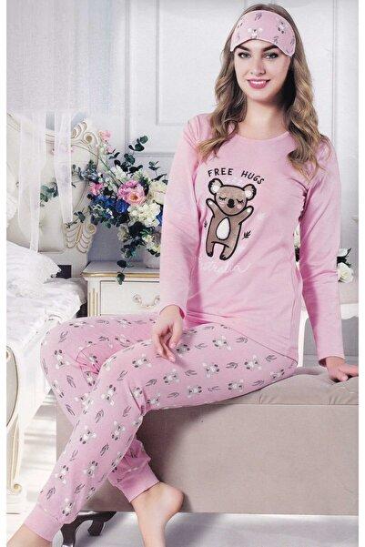 Çekmece Kadın Açık Pembe Desenli Uzun Kol Pamuklu Pijama Takım