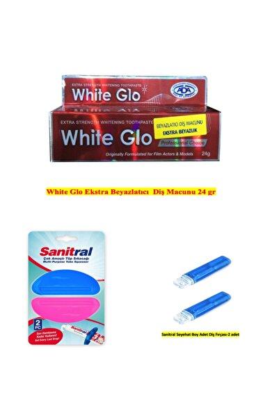 White Glo Extra Beyazlatıcı Diş Macunu( 2 Adet Diş Fırçası Ile)+sanitral Çok Amaçlıtüp Sıkacağı