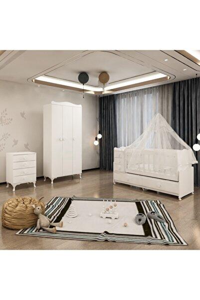 Garaj Home Melina Yıldız 3 Kapaklı Bebek Odası Takımı Beyaz - Yatak Ve Uyku Seti Kombinli- Uykuseti Beyaz