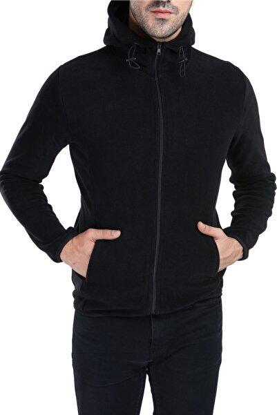 GHASSY CO. Erkek Siyah Kapüşonlu Polar Ceket