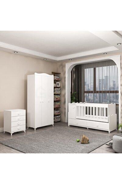 Garaj Home Beyaz Pırlanta Yıldız 3 Kapaklı Bebek Odası Takımı