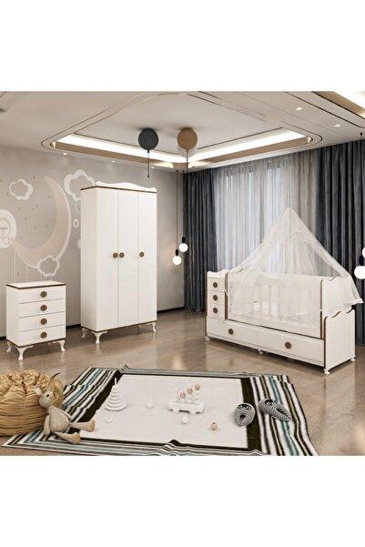 Garaj Home Melina Yıldız 3 Kapaklı Bebek Odası Takımı Sümela- Yatak Ve Uyku Seti Kombinli- Uykuseti Beyaz