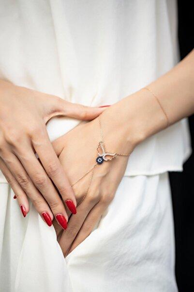 İzla Design Kadın Kanatlı Nazarlık Model Rose Kaplama Gümüş Şahmeran PKT-
