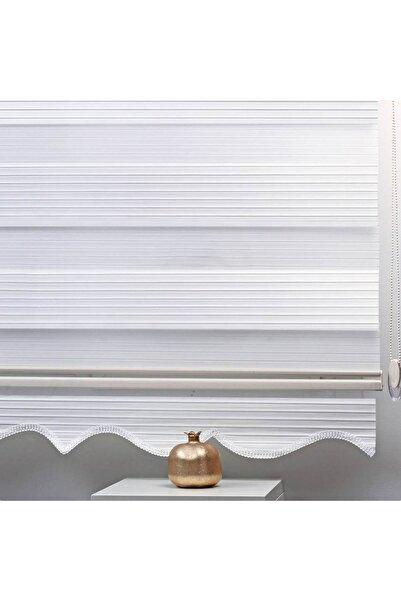 Brillant Zebra Perde Pliseli Beyaz Etek Dilimli 150x200 Bb001