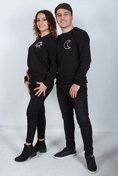 Doruk Butik Sevgili Kombini -+Güneş ve Ay + Siyah Sweatshirt