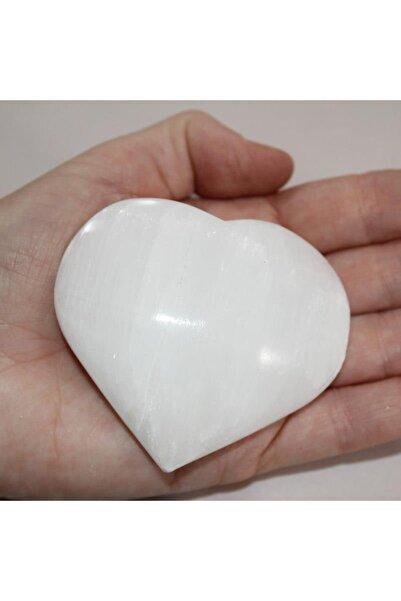 Serap Yılmaz Sahi Kalp Modeli Doğal Selenit Masaj Taşı (beyaz)