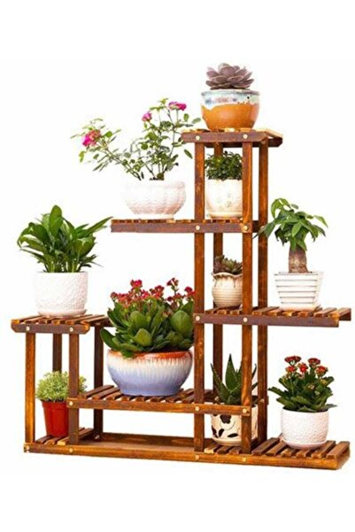 GENÇER Merdiven Model Çok Katlı Ahşap Çiçeklik Saksı Standı