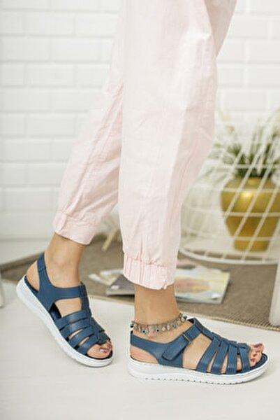 Hakiki Deri Kot Mavi Kadın Deri Sandalet Dp05-0246