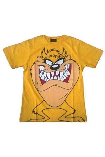 fame-stoned Unisex Sarı Tazmanya Canavarı Baskılı Lisanslı T-Shirt