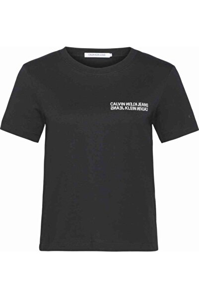 Calvin Klein Kadın Siyah T-Shirt Ck Sıyah Square Graphıc Straıght Tee