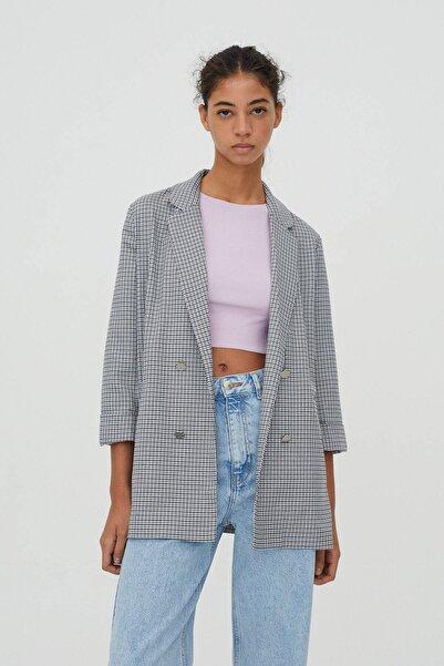 Pull & Bear Kadın Renkli Kıvrık Kollu Kareli Blazer 04782301