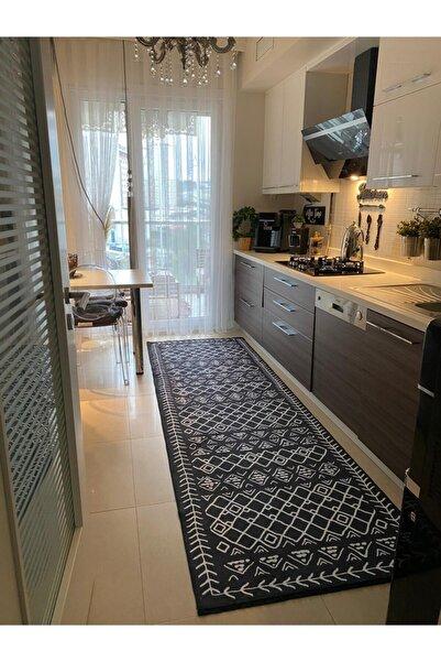 istanbulhomeshop Siyah Beyaz Mutfak Halısı