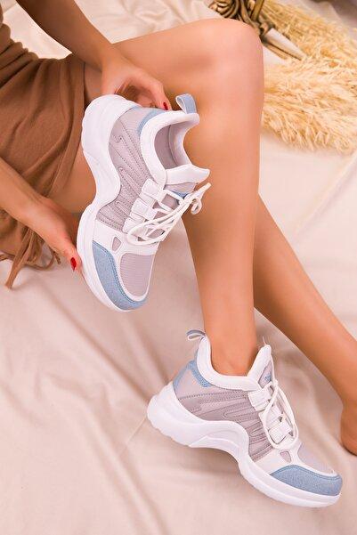 SOHO Beyaz-Mavi-Buz Kadın Sneaker 15791