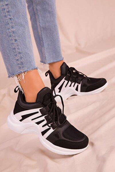 SOHO Siyah-Beyaz Kadın Sneaker 15791