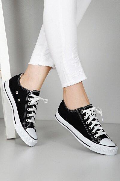 GÖN Siyah Keten Kadın Günlük Spor Keten Düz Taban Sneaker 35222