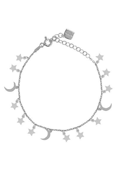 Coşar Silver Çoklu Pres Hilal Yıldız Sallantılı Gümüş Bileklik