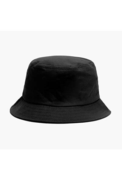 Köstebek Düz Siyah Kova Şapka Balıkçı Şapka Bucket Hat