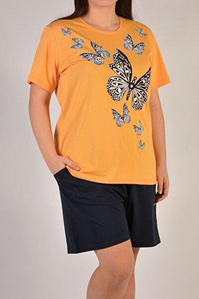 Nicoletta Sarı Kadın Şortlu Pijama Takımı Kısa Kollu Büyük Beden Cepli