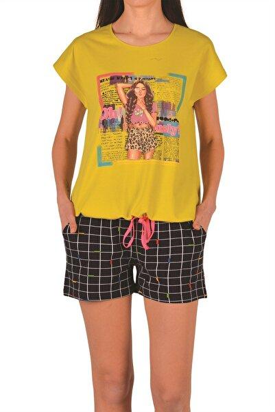 Nicoletta Sarı Kadın Şortlu Pijama Takımı Kısa Kollu Cepli Pamuk
