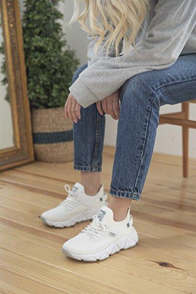 STRASWANS Dalia Kadın Streç Triko Spor Ayakkabı Beyaz
