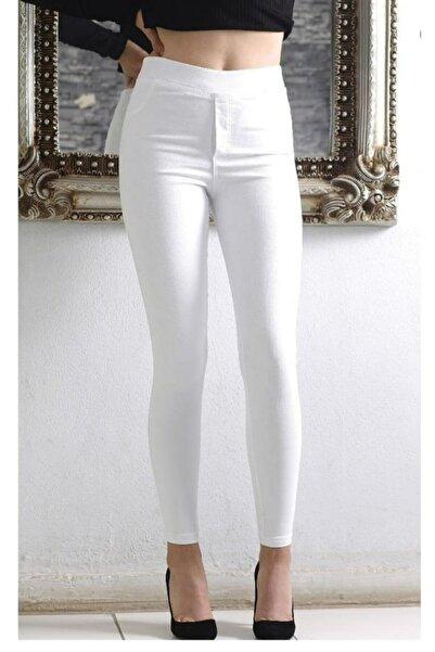 AZEM KOTÇU Kadın Beyaz Yüksel Bel Lastikli Likralı Kot Pantolon