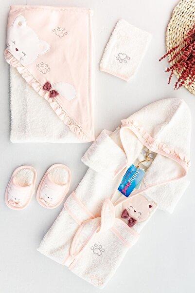 Babymod Kedi Figürlü Kız Bebek Banyo Havlu Bornoz Seti