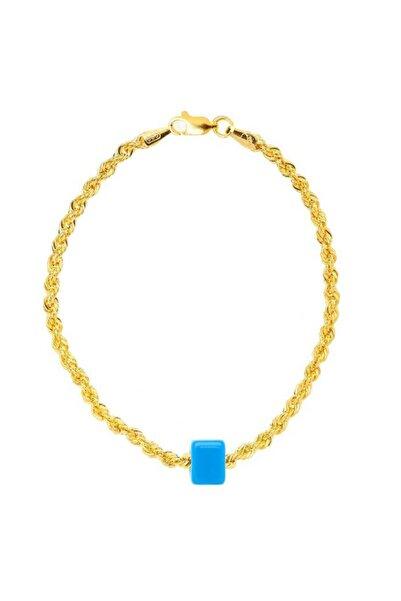 Myra Gold Mavi Boncuklu Kalın Burgu Zincir Altın Bileklik