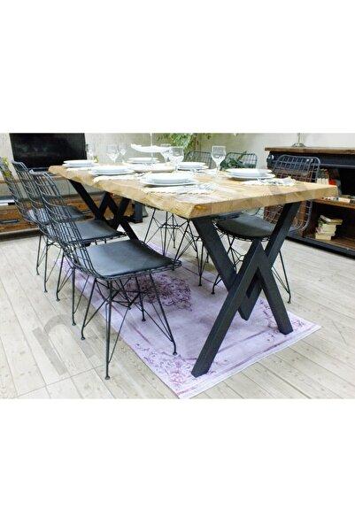 NT Concept Masif Kütük Açık Ceviz Yemek Masası - 85cm - 150cm Masa