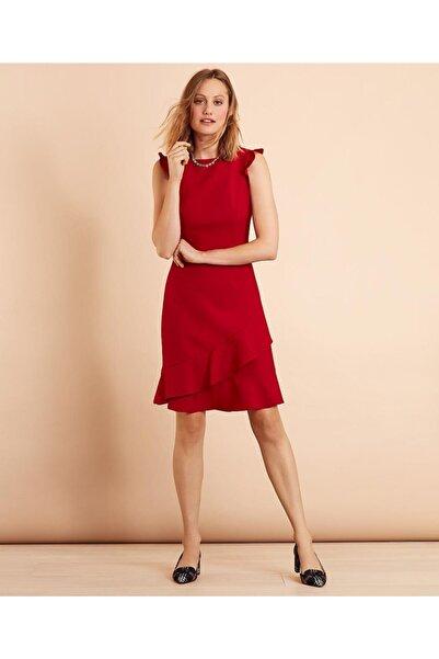 BROOKS BROTHERS Kadın Kırmızı Fırfır Detaylı Yün Karışımlı Elbise