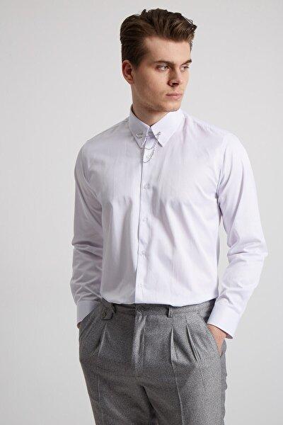 Fc Plus Erkek Beyaz Yaka Filketeli Zincirli Pamuk Gömlek - Slım Fıt