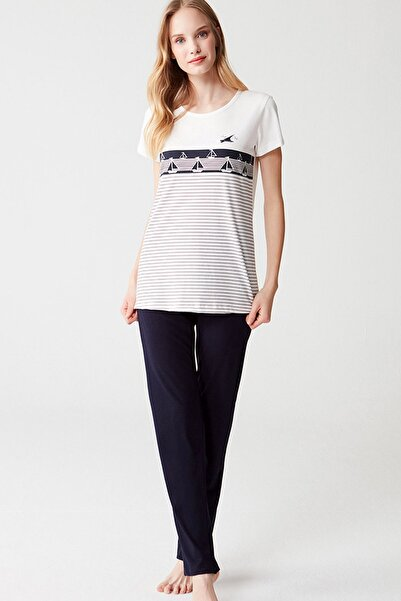 Mod Collection %100 Pamuklu Kadın Çizgili Kısa Kol Pijama Takım
