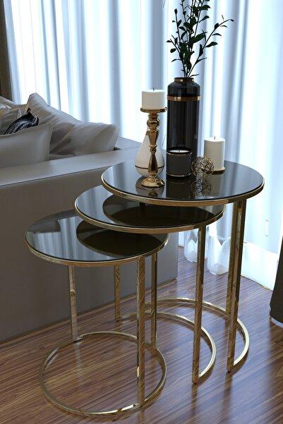 HAUSEV Aynalı Gold Metal Zigon Sehpa