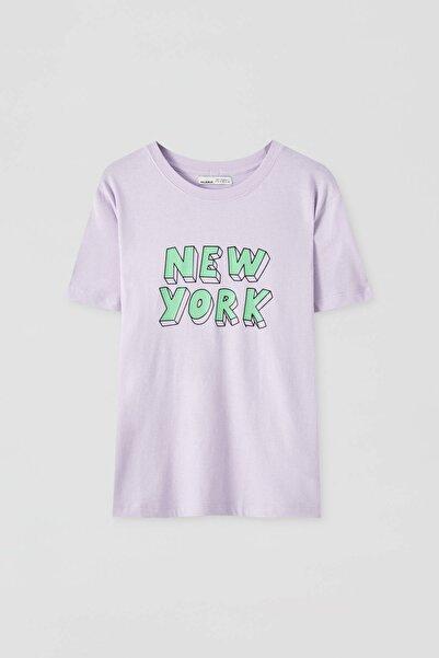 Pull & Bear Kadın Leylak Lila New York Yazılı T-Shirt 09244303