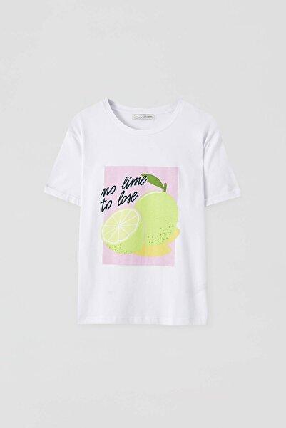Pull & Bear Kadın Misket Limonu Görselli T-Shirt 05238310
