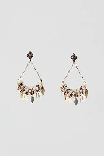 Pull & Bear Kadın Gümüş Kumaş Ve Boncuklu Üçgen Küpe 05992398