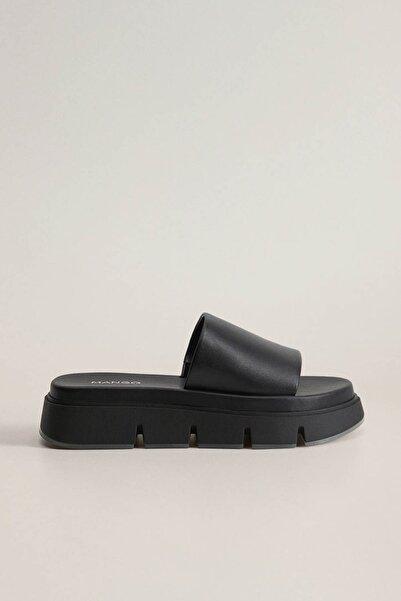 MANGO Woman Kadın Siyah Platformlu Deri Sandalet 77080531