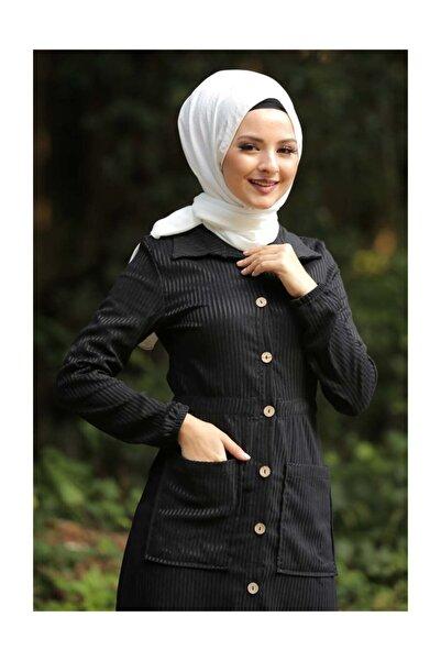 Tesettür Dünyası Kadın Cepli Kadife Elbise TSD6488 Siyah TSD6488