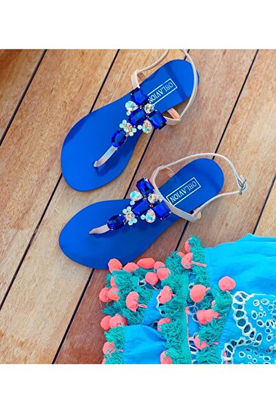 Oblavion Rio Mavi Kristal Cam Taş Detaylı Kadın Sandalet