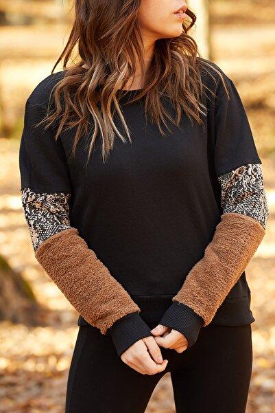 Kadın Siyah Kolları Kürtk & Yılan Detaylı Sweatshirt  9KXK8-41668-02