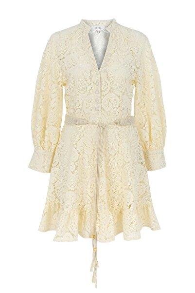 Kadın Ekru Fırfır Şeritli Güpür Elbise IS1200002485AB1