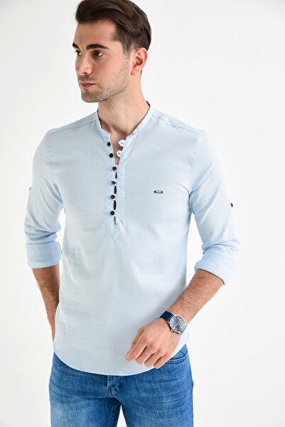 DYNAMO Erkek Buz Mavi Hakim Yaka Likralı Slim Fit Gömlek